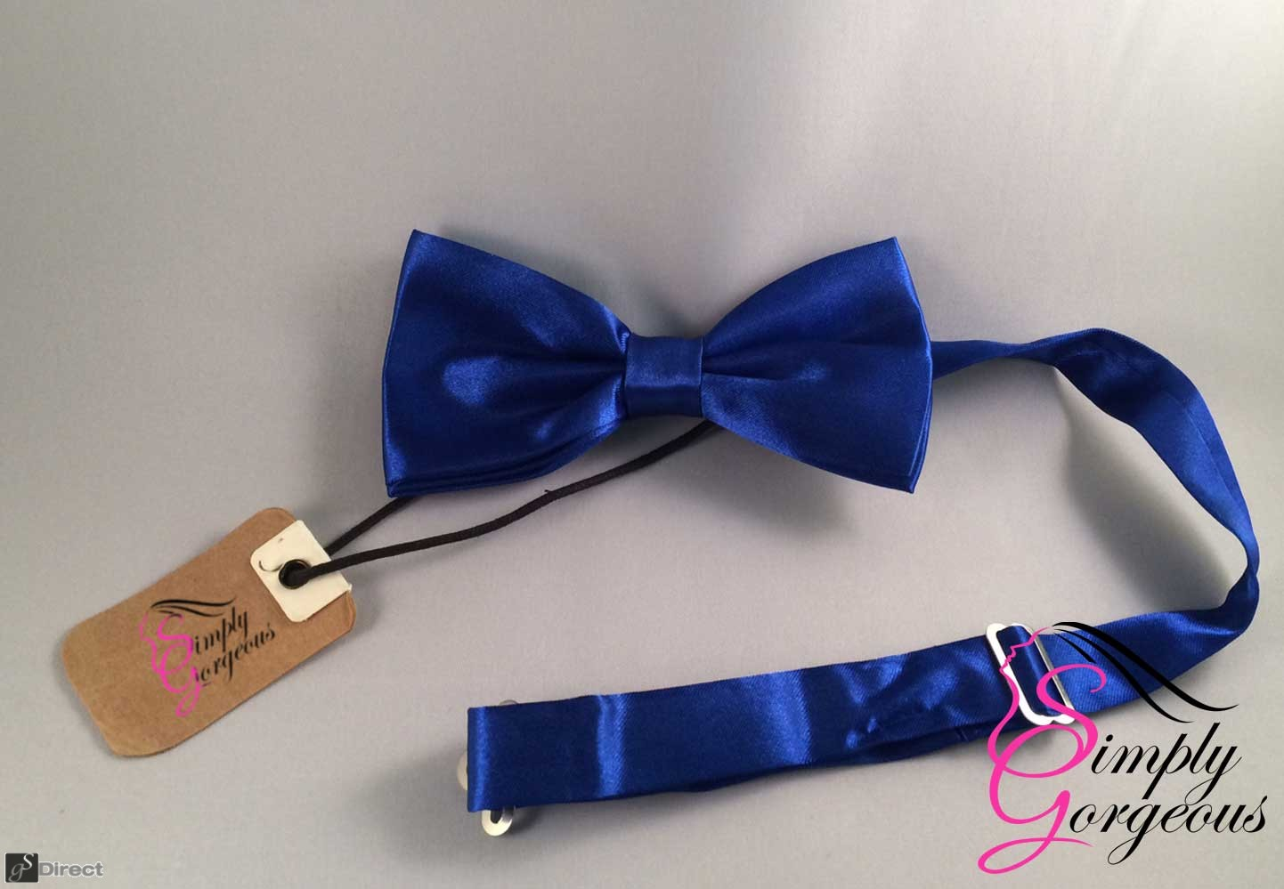 Mens Satin Polyester Bow Tie - Blue