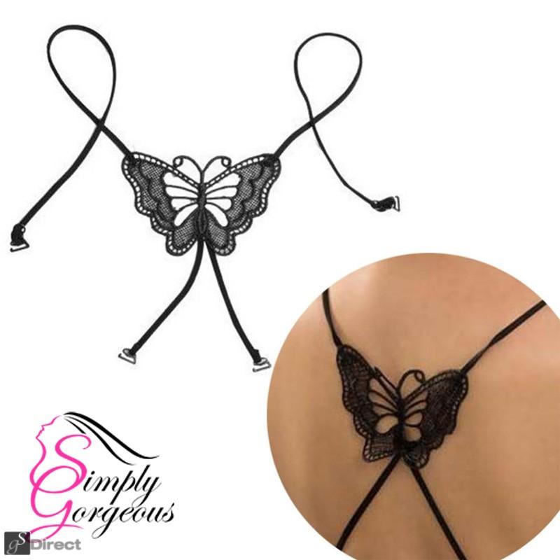 Black Lace Big Butterfly Elastic Brassiere Bra Strap