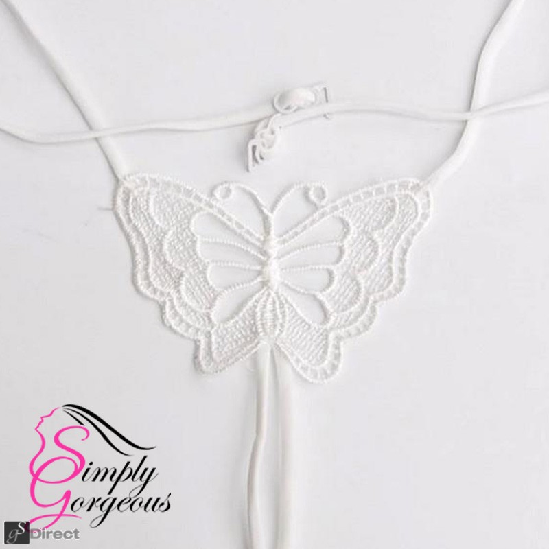 White Lace Big Butterfly Elastic Brassiere Bra Strap