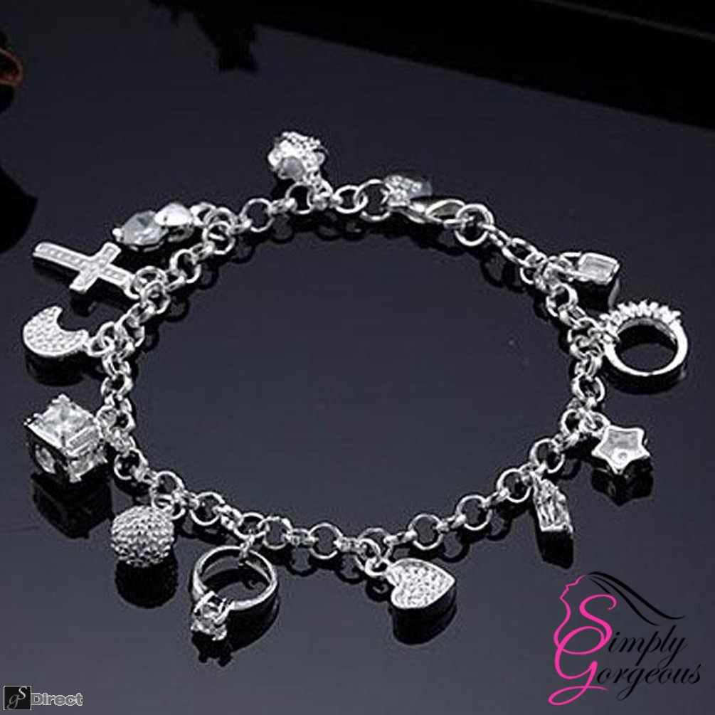 925 Silver 13 Charms Ladies Charm Bracelet