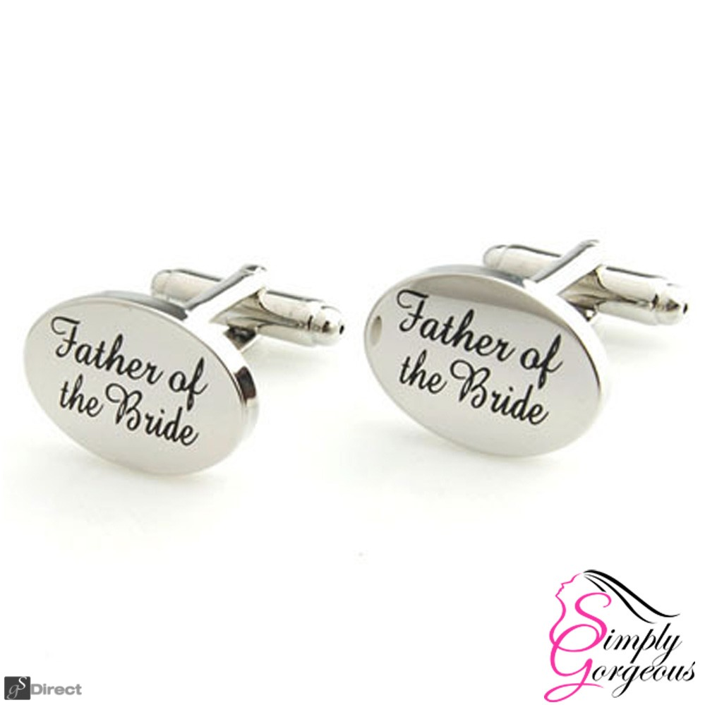 Silver Oval Mens Wedding Cufflinks - FATHER OF THE BRIDE
