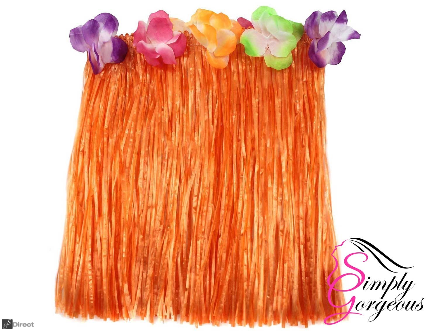 Hawaiian Hula Grass Skirt - Orange