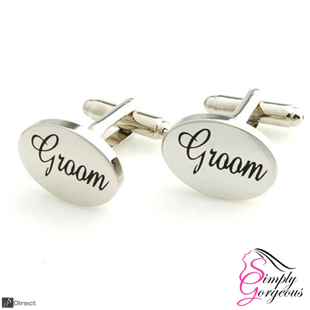 Silver Oval Mens Wedding Cufflinks - GROOM