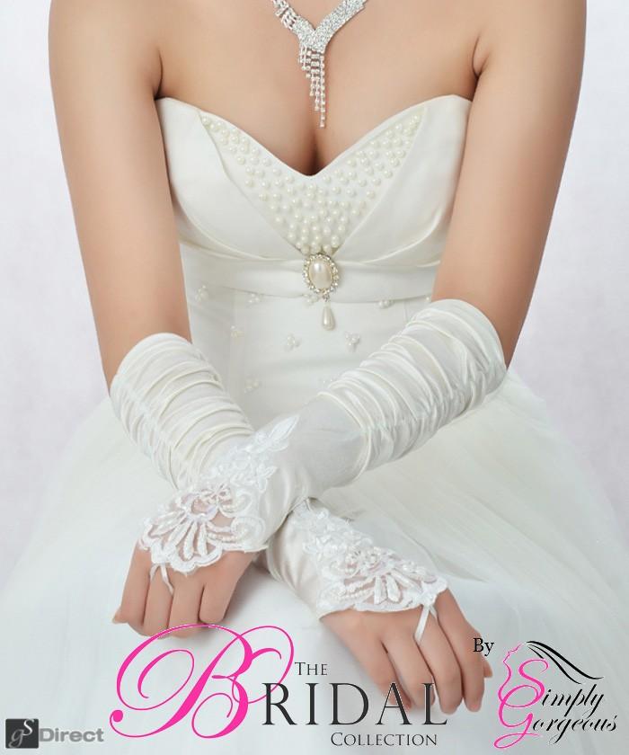 Ivory Satin Fingerless Bridal Gloves
