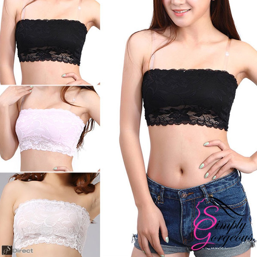 Lace Strapless Seamless Boob Tube Bra - Black