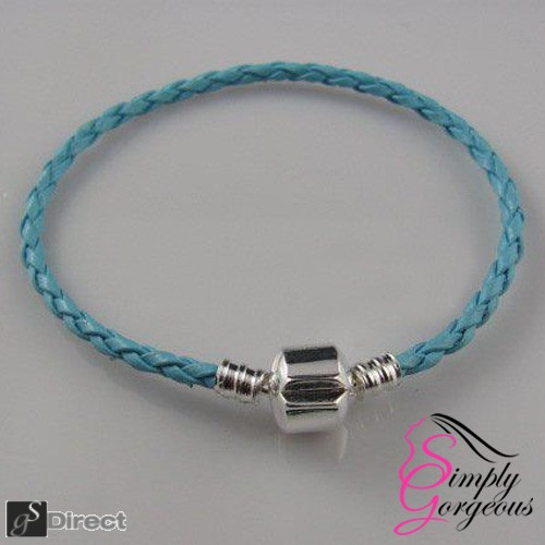 Real Leather Braided Charm Bracelet With Silver Plated Clasp - Light Blue