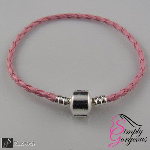 Real Leather Braided Charm Bracelet With Silver Plated Clasp - Pink