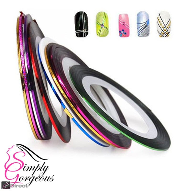 12 Colour Rolls Nail Art Lace Tape Line Strips False Nails Decoration Stickers