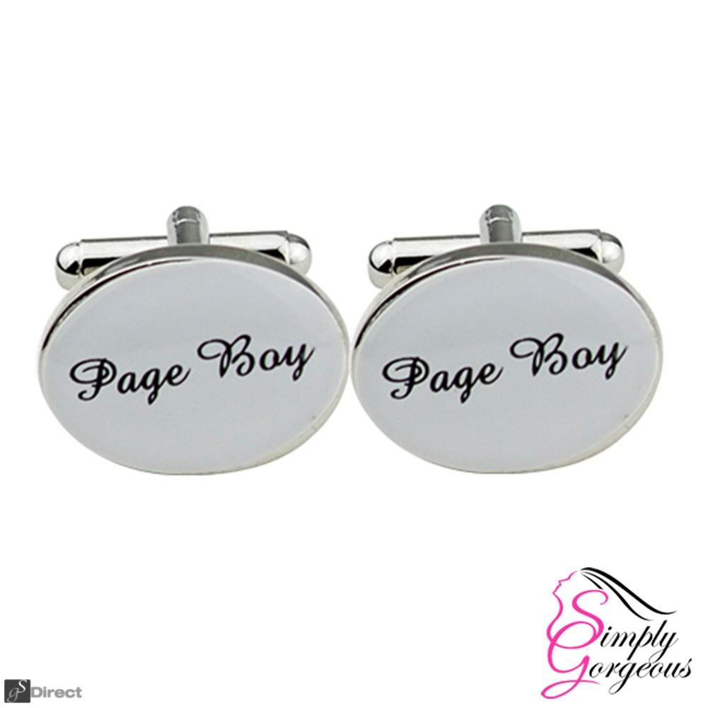 Silver Oval Mens Wedding Cufflinks - PAGE BOY