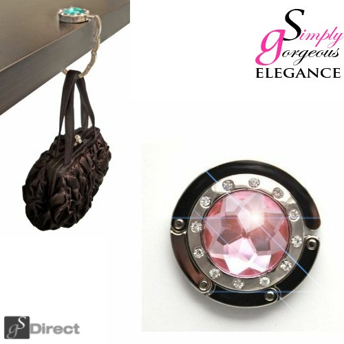 Crystal Hand Bag / Purse Folding Hook Hanger - Light Pink