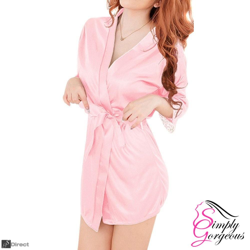 Ladies Sexy Pink Silk Dressing Gown