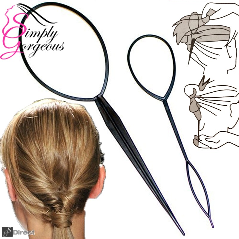 2 Piece Twist & Loop Ponytail Maker Hair Braid Styling Tool
