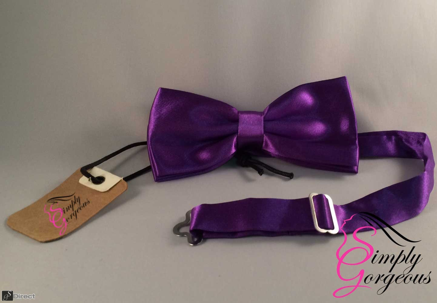 Mens Satin Polyester Bow Tie - Purple
