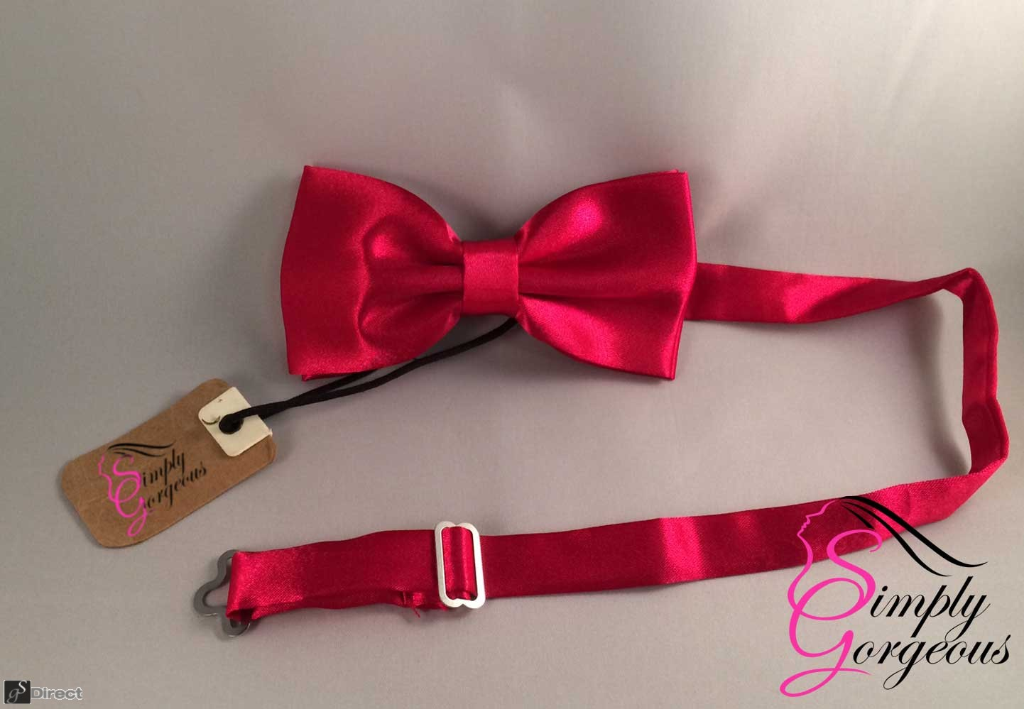 Mens Satin Polyester Bow Tie - Wine Red