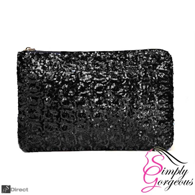Ladies Sparkling Sequin Clutch Handbag Bag - Black