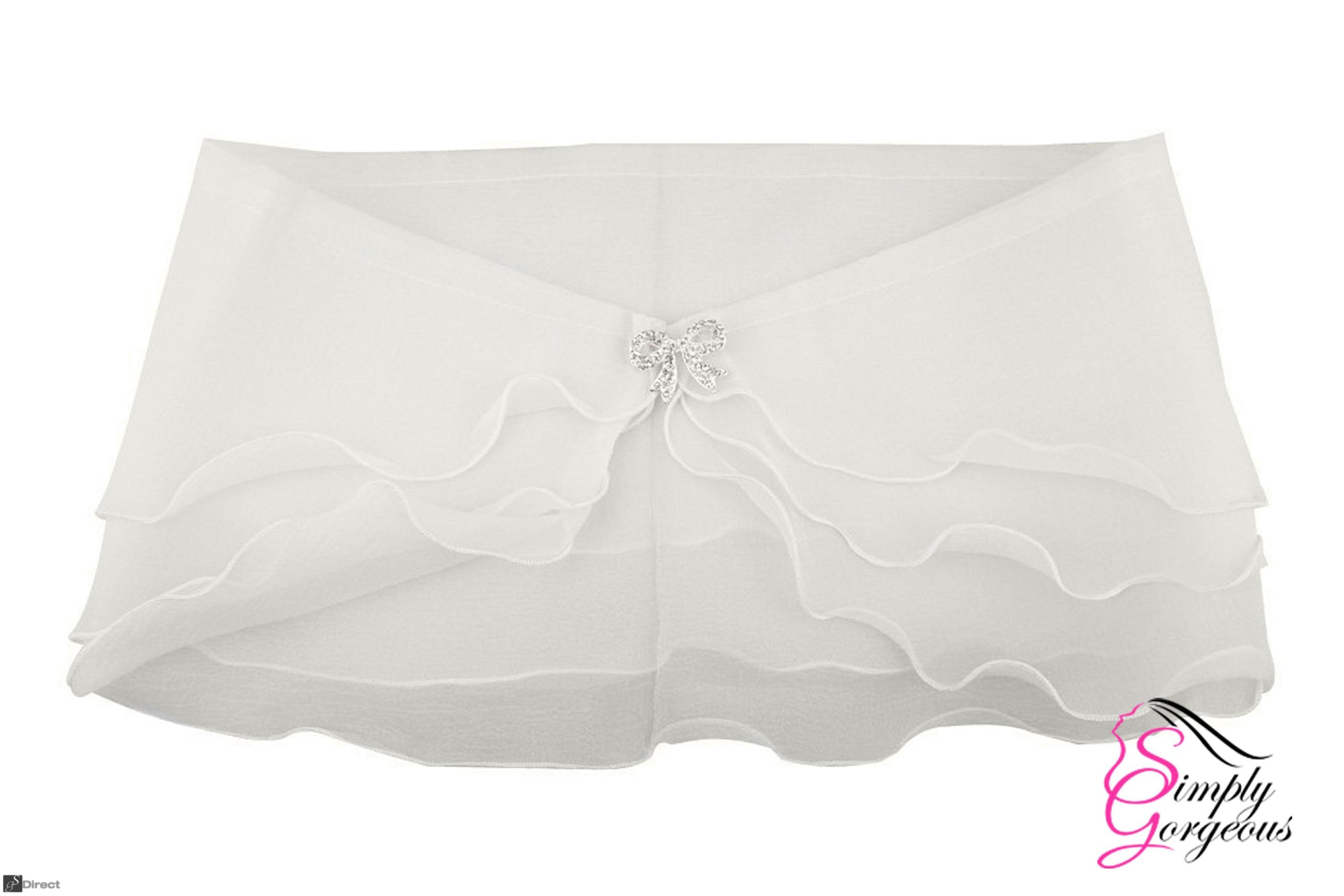 Ivory Sheer Organza 3 Layer Bridal Wedding Wrap