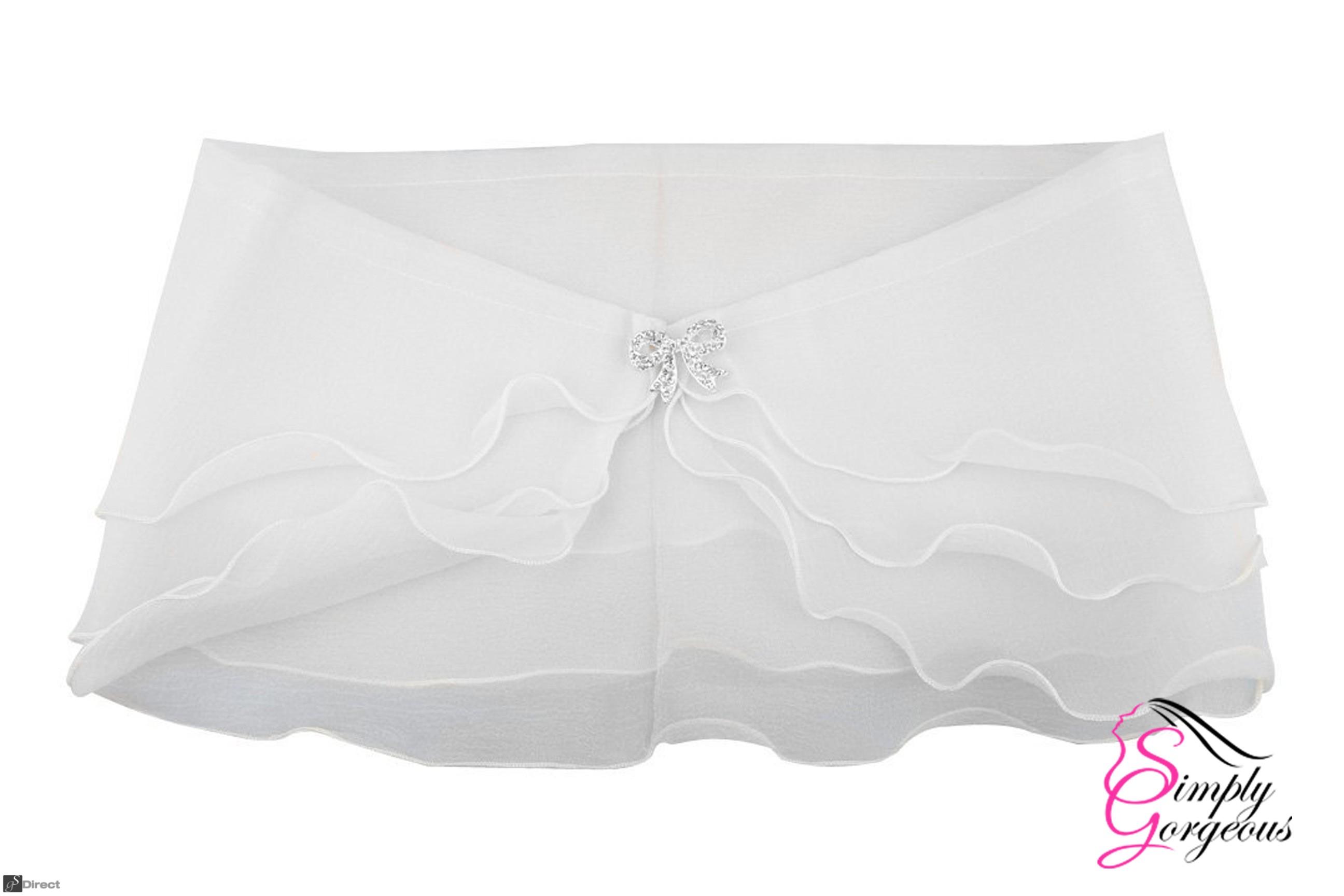 White Sheer Organza 3 Layer Bridal Wedding Wrap