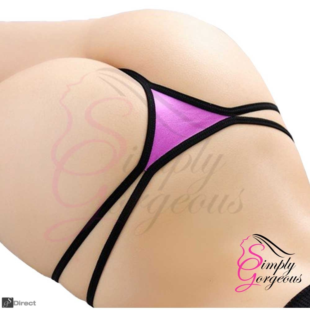 Ladies Sexy Lace V-String Thong - Purple - One Size
