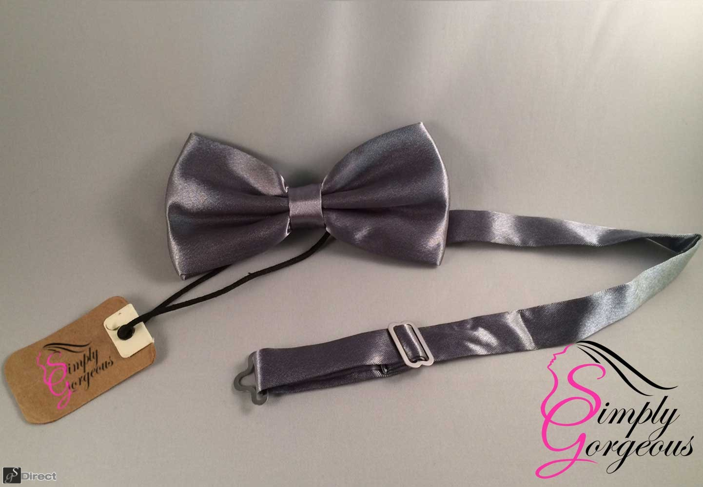 Mens Satin Polyester Bow Tie - Silver
