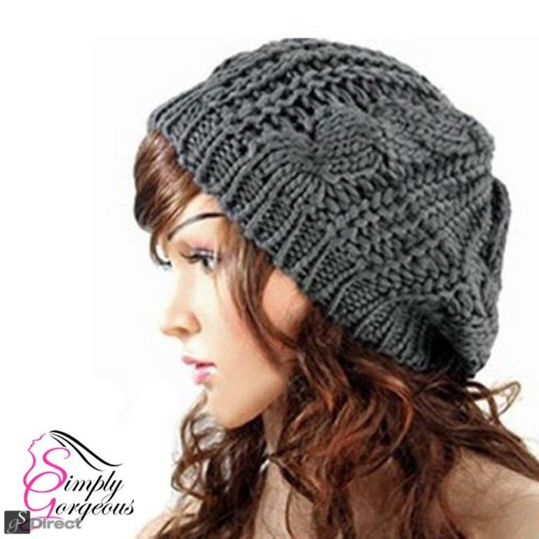Ladies Stylish Beanie Knitted Hat - Grey