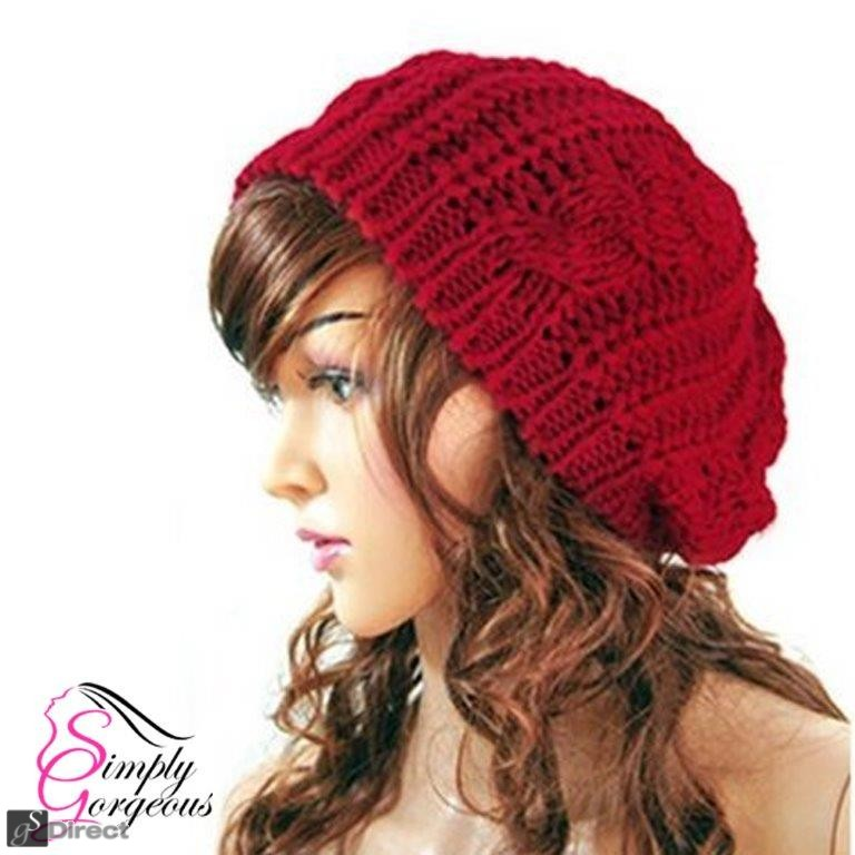 Ladies Stylish Beanie Knitted Hat - Red