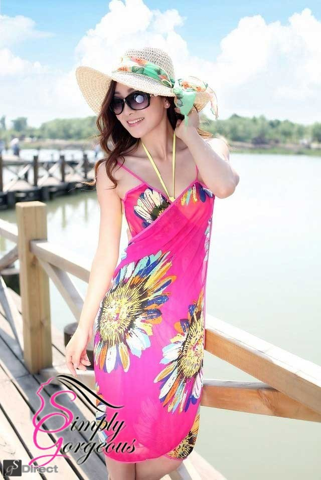 Bold Flower Pattern Beach Cover Up Sarong Dress - Pink