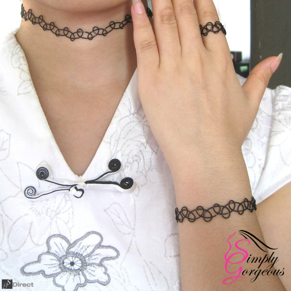 Tattoo Stretch Retro Choker Necklace, Bracelet & Ring Set