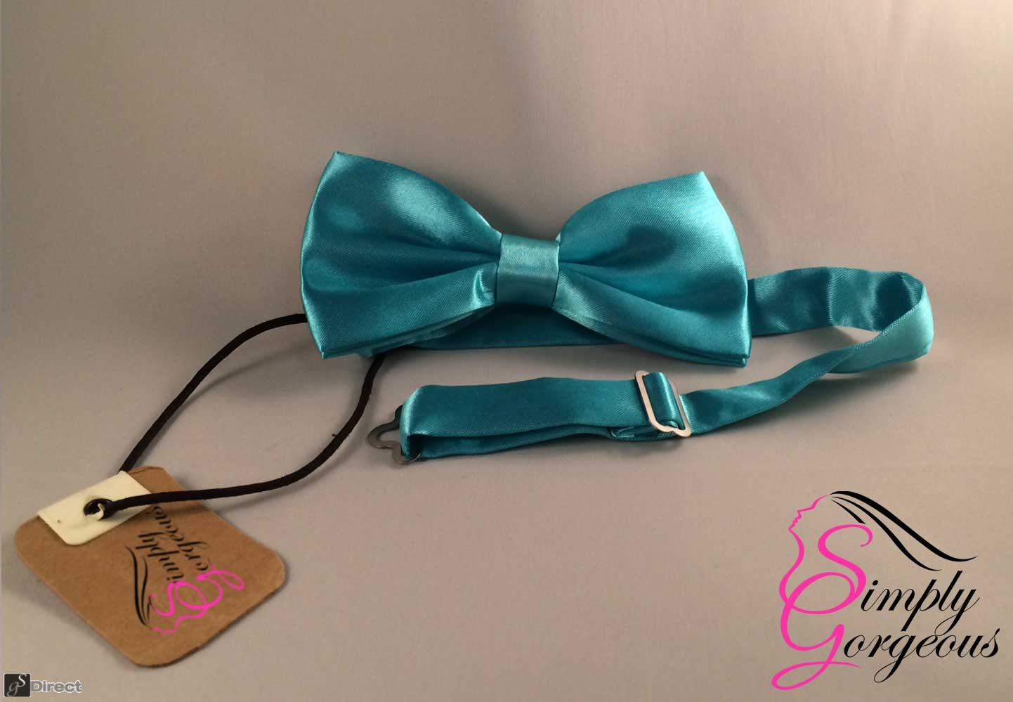 Mens Satin Polyester Bow Tie - Torquoise