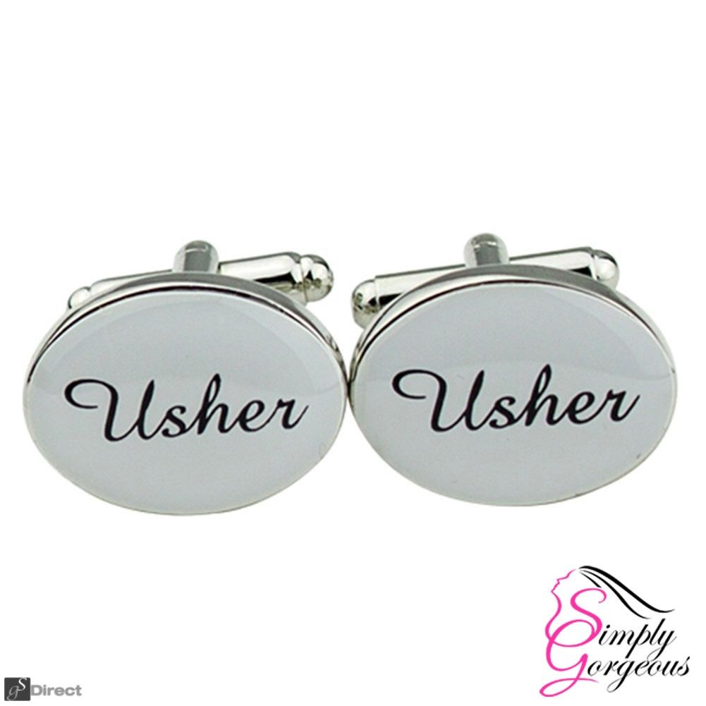 Silver Oval Mens Wedding Cufflinks - USHER