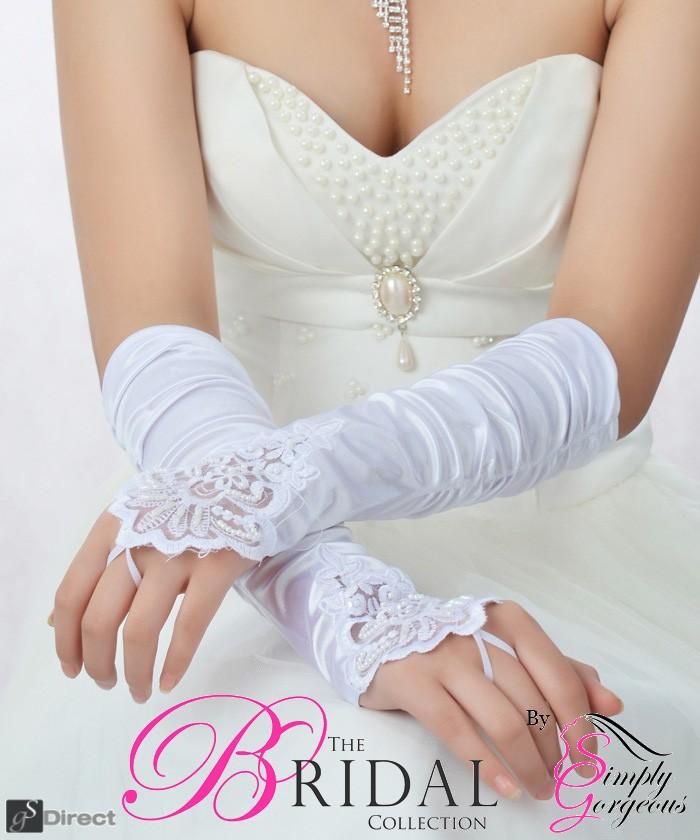 White Satin Fingerless Bridal Gloves