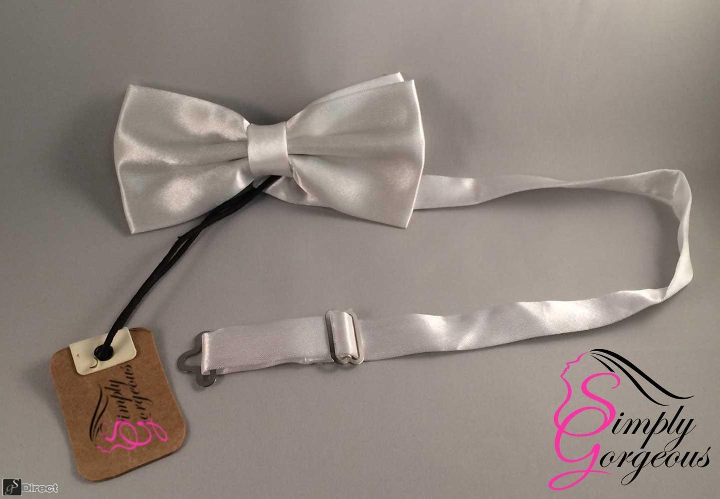 Mens Satin Polyester Bow Tie - White