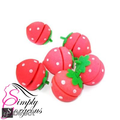 Simply Gorgeous Magic Soft Sponge Hair Rollers Curlers - Strawberry Design Set of 6