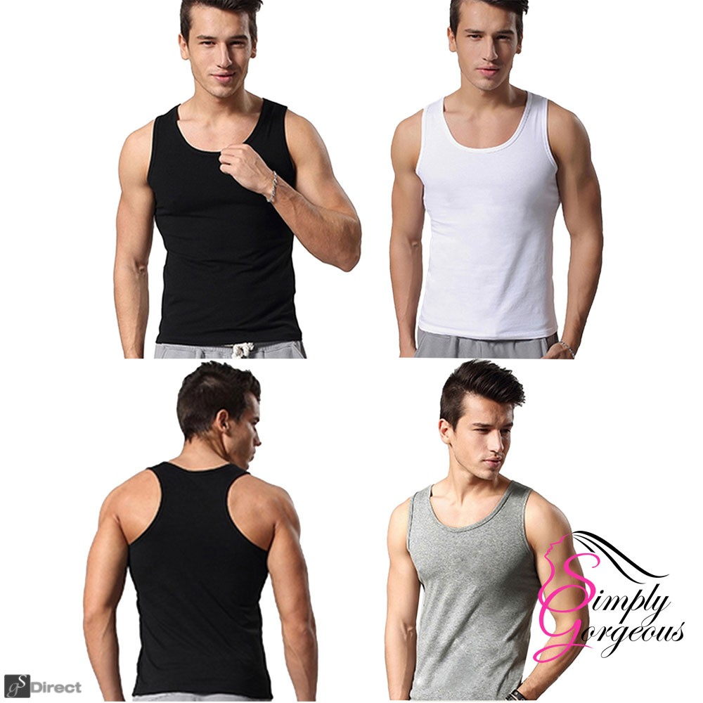 3 Pack XX Large Mens Cotton Tank Top Vests - Black, White & Grey