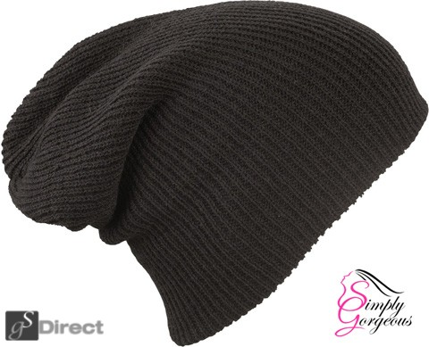 Knitted Woolly Winter Slouch Beanie Hat - Black
