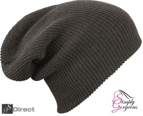 Knitted Woolly Winter Slouch Beanie Hat - Dark Grey
