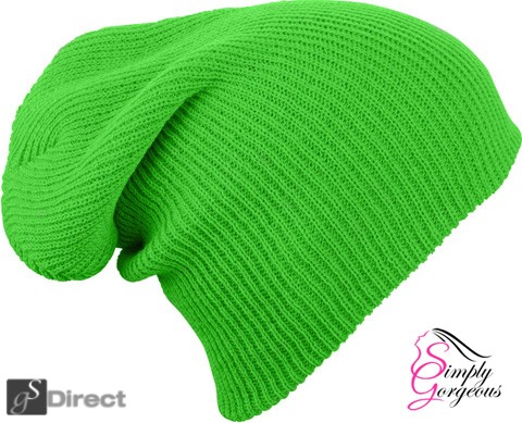 Knitted Woolly Winter Slouch Beanie Hat - Florescent Green