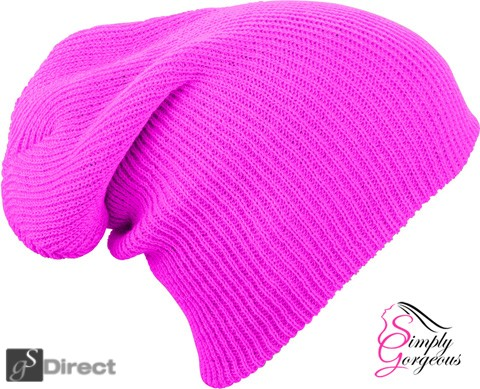 Knitted Woolly Winter Slouch Beanie Hat - Florescent Pink