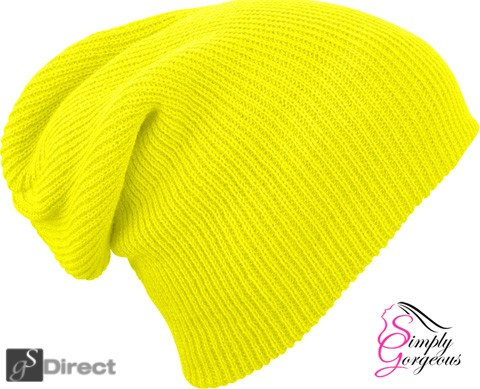 Knitted Woolly Winter Slouch Beanie Hat - Florescent Yellow