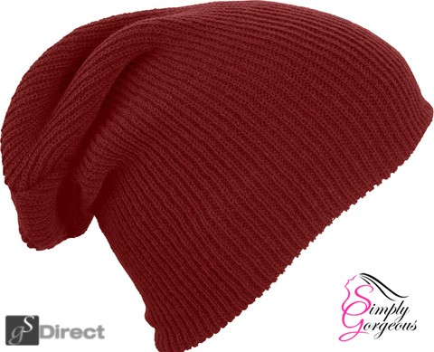 Knitted Woolly Winter Slouch Beanie Hat - Wine Red