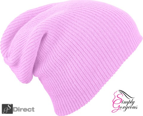 Knitted Woolly Winter Slouch Beanie Hat - Rose Pink