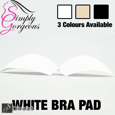 Replacement Bra Pads for Genie Type Bras 1 Pair - White
