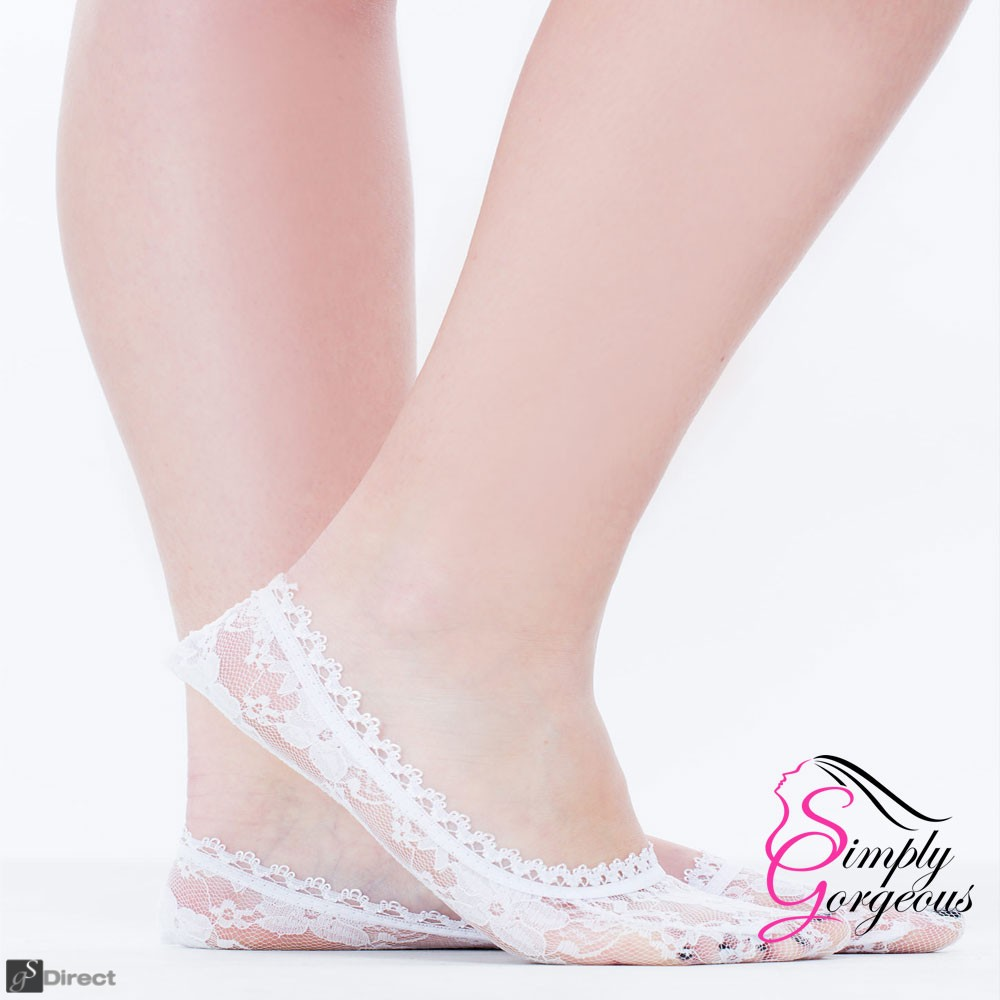 Ladies / Girls Cotton lace Socks Invisible Ballerina Footsies UK 3-6 - White