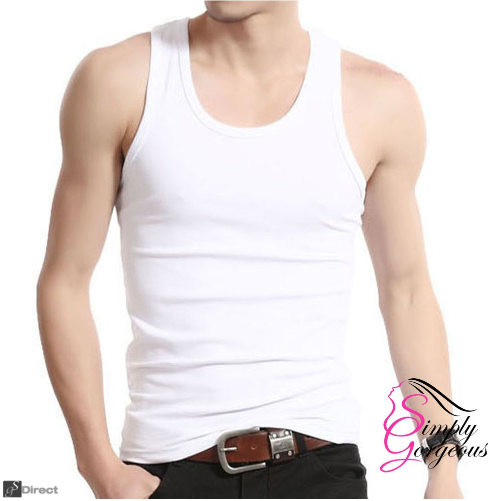 3 Pack X Large Mens Cotton Tank Top Vests - White
