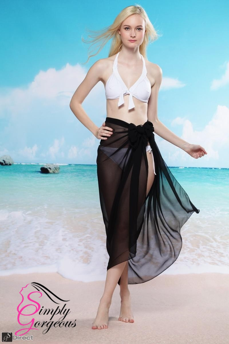 Simply Gorgeous Chiffon Wrap Sarong - Black
