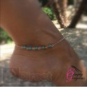 Pretty 5 Turquoise Beads Ankle Silver Chain Anklet
