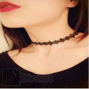 Vintage Retro Black Lace Daisy Flower Choker Necklace