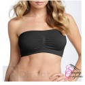 Black Ladies Sexy Bandeau Strapless Seamless Boob Tube Style Bra - Size XXL  UK Size (16-18)