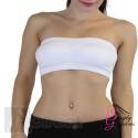White Ladies Sexy Bandeau Strapless Seamless Boob Tube Style Bra - Size Large - (UK Size 12-14)