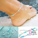 Turquoise Beads Ankle Silver Chain Anklet