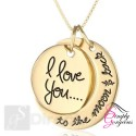 "Vintage Gold Plated Pendant Necklace ""I Love You To The Moon And Back"""